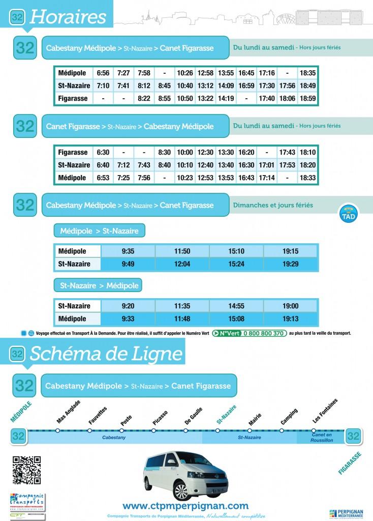 Horaires ligne 32 réalisées par Taxi de l'Etang sur les communes de Canet-en-roussillon (66140), Saint-Nazaire (66530) et Cabestany (66330)
